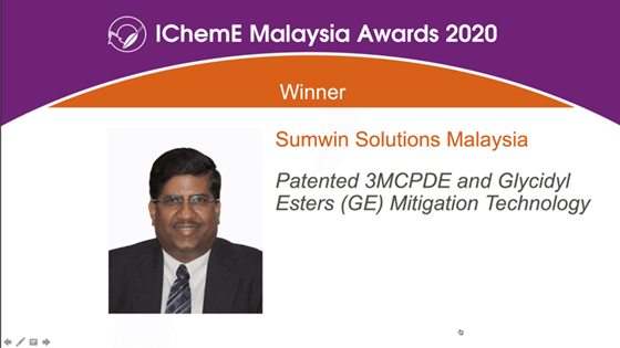 Sumwin Solutions triumphs in the palm oil category at IChemE Malaysia Awards 2020
